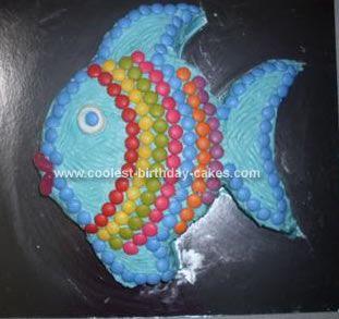 Coolest Rainbow Fish Birthday Cake Fish birthday cakes Rainbow