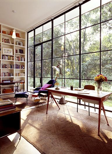 Home office workspace: Design by Michael Haverland. Desk by Jean Prouve.