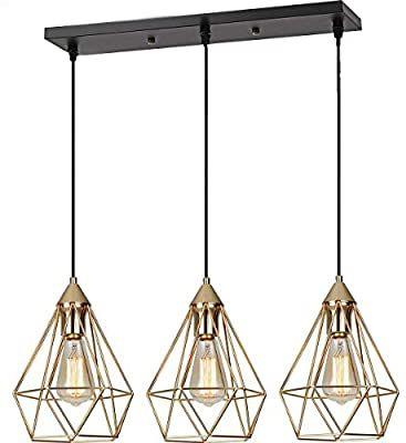 Seeblen 3 Light Indoor Island Pendant Light Gold Metal Hanging Ceiling Light Fixtu Hanging Ceiling Lights Hanging Ceiling Light Fixtures Island Pendant Lights