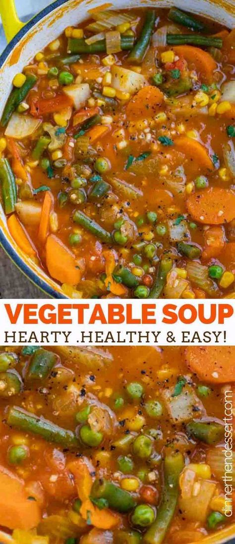 Vegetable soup is hearty and savory full of nourishing veggies like tomatoes corn green beans celery and potatoes ready in under 45 minutes! easy healthy lowcarb soup stew vegetarian simple dinnerthendessert easy vegetable lasagna with alfredo sauce Vegetable Soup Healthy, Vegetable Soup Recipes, Easy Healthy Soup Recipes, Simple Vegetarian Recipes, Healthy Soups, Vegetable Stew Crockpot, Easy Veggie Soup, Healthy Food, Veggie Dinners