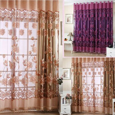 Modern Floral Tulle Voile Door-Window Curtain Drape Panel Sheer Scarf Valance