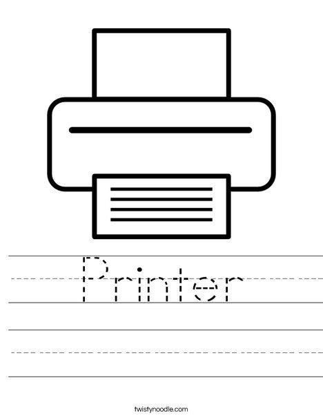 Printer Worksheet Twisty Noodle Elementary Computer Lab Computer Lessons Kindergarten Technology
