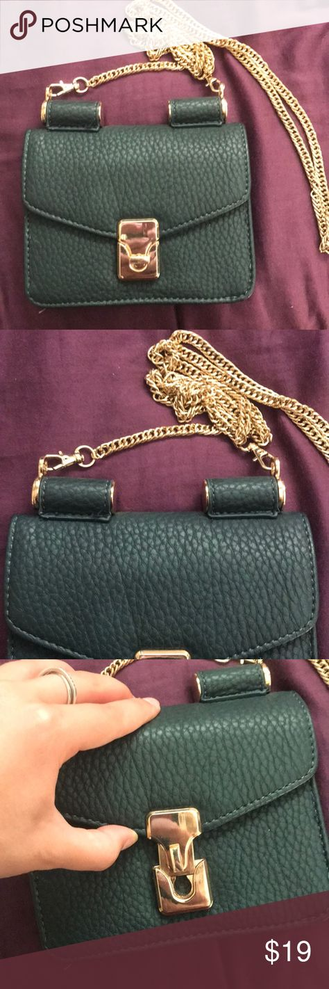 80bffa0f18e5 Blue green bag Teal green leather crossbody with gold chain. Great  condition! Pen