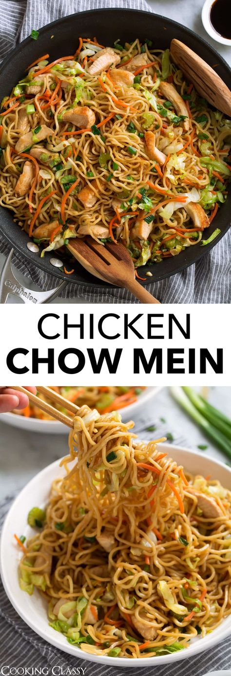 Chow Mein Recipe - just like what you get at your favorite Chinese restaurant but it's made at home in under 30 minutes! It's made with tender noodles, fresh sauteed veggies, lean chicken, and a simple savory sauce. A crave-worthy dinner! #chowmein #chickenchowmein #chinese #recipe #chicken #noodles via @cookingclassy