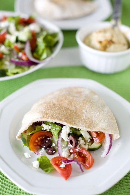Greek Salad with Pita and Hummus (Romaine, Red Onions, Cherry Tomatoes, Sliced Black Olives, Cucumber, Feta, Lemon Garlic Dressing, Pita, Hummus)