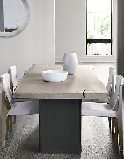 Landscape Live Edge White Washed Wood Dining Table Reviews Cb2