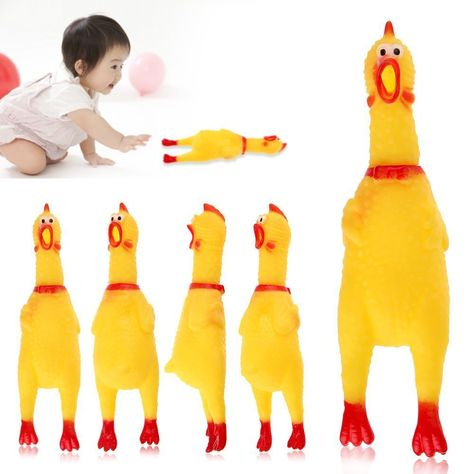 Awesome Screaming Rubber Yellow Chicken Pet Dog Toy Squeak