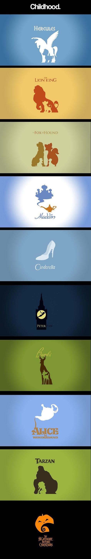 Minimalist posters of Disney Movies