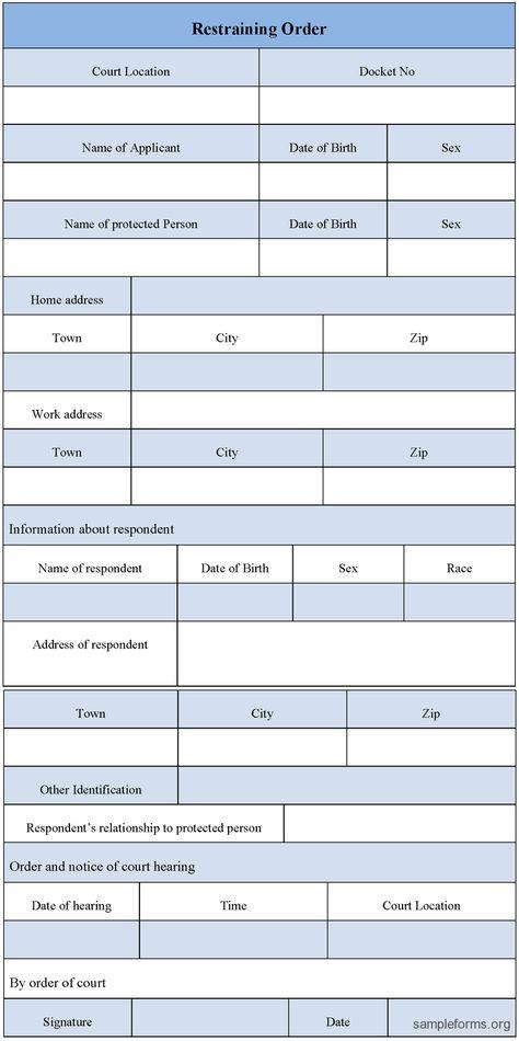 Print Restraining Order Forms Restraining Order Form, sample - restraining order form