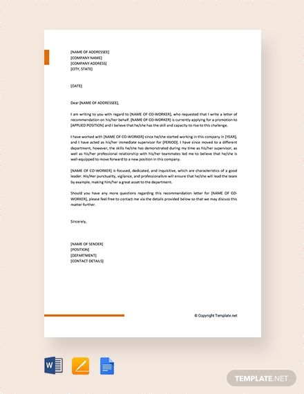 Free Professional Letter Of Recommendation For Coworker Letter