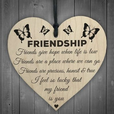 Heart Shaped Friendship Quotes Wooden Sign Home Decoration DIY Home Ornaments