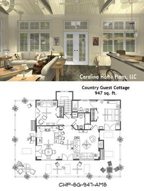 Small Open Floor Plan Sg 947 Ams Great For Guest Cottage Or Vacation Get Away House Floor Plans House Plans Cottage Plan