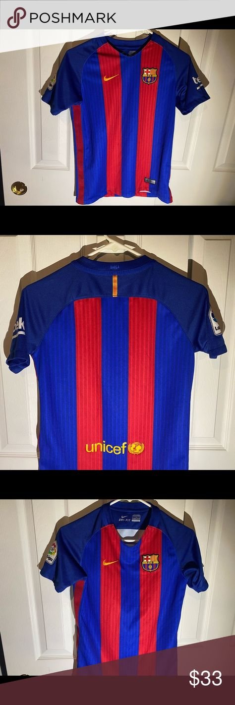Nike Dri-Fit FCB Barcelona UNICEF Soccer Jersey Nike Dri-Fit FCB Barcelona UNICEF Soccer Jersey Size Large is great shape, there is no stains,marked or ripped on this beautiful authentic Barcelona UNICEF soccer jersey. Nike Shirts Tees - Short Sleeve