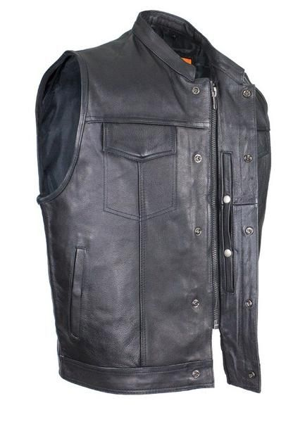 Mens Biker Riding Patch Holder 7 Pocket Leather Vest With High Zipper Leather Vest Leather Jacket Men Style Mens Leather Vest
