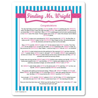 Right and left gift passing game with a fun story about Mr. Wright ...