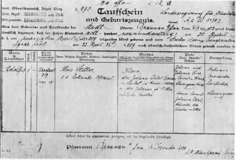 The original Hitler baptism certificate from the town of Braunou - baptism certificate