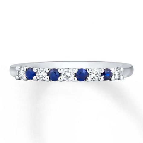 Natural Sapphire Ring 1 6 Ct Tw Diamonds 10k White Gold In 2020 Natural Sapphire Rings Blue Sapphire Rings White Gold