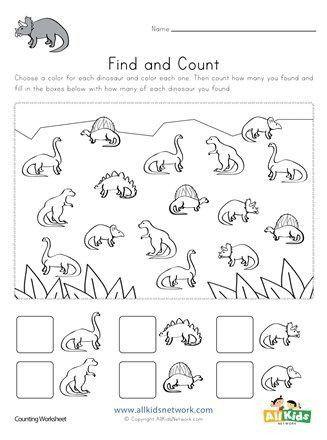 Dinosaur Worksheets For Kindergarten Dinosaur Find And Count Worksheet In 2020 Dinosaur Worksheets Kindergarten Worksheets Kindergarten Worksheets Printable