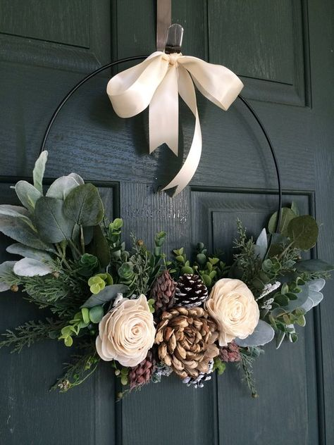 Couronne de Noël, couronne de Noël, décoration de Noël, couronne de cerceau, moderne Couronne, couronne de porte, couronne de porte d'entrée, couronne de naturel