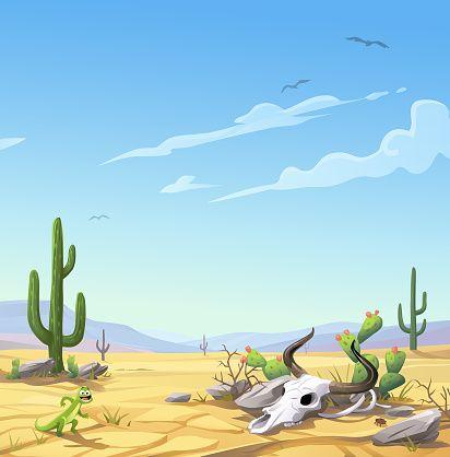 A Barren Dry Desert Landscape With Rocks A Cow Skull And A Lizard Desert Painting Desert Landscaping Desert Art