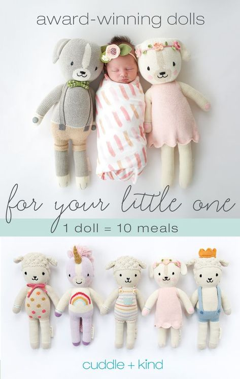 Every cuddle+kind doll is lovingly handcrafted with natural, premium cotton yarn and provides 10 meals to children in need. There are 24 award-winning, fair t Baby Shower Gifts, Baby Gifts, My Bebe, Everything Baby, Knitted Dolls, Baby Fever, Future Baby, Birthday Personality, Baby Dolls