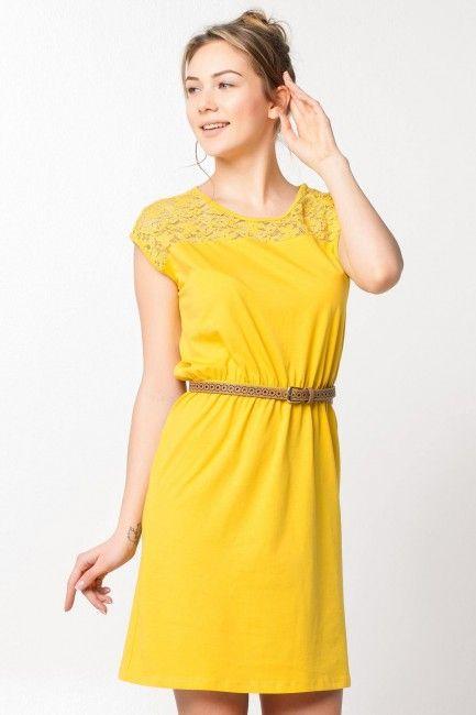 Defacto Limon Sarisi Dantelli Elbise Modelleri Kadinlive Com Elbise Modelleri Elbise Moda Stilleri