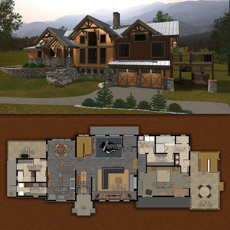 Rustic Redstone Timber Frame Design 3 518 Sq Ft Mountain House Plans Dream House Exterior Minecraft House Designs