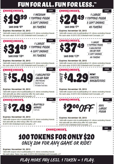 Pinned November 6th 100 game tokens for $20 and more at Chuck E - referral coupon template