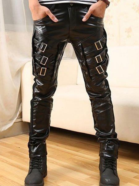 Men/'s Black Motorcycle Pencil Punk Pants Leather Trousers Cross Lace-Up Gothic
