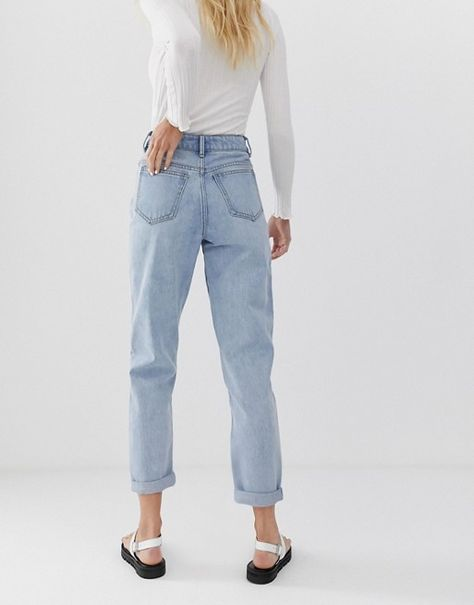 DESIGN Recycled Ritson rigid mom jeans in light stone wash blue