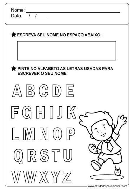 Atividades Com O Nome Atividade Alfabeto Educacao Infantil