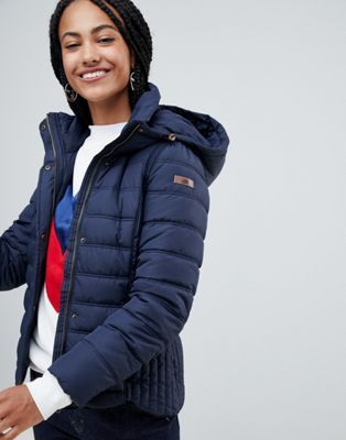 Esprit Short Padded Jacket With Hood in Navy | Padded jacket