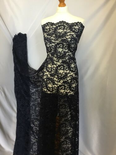 NEW High Class Dark Navy Corded Stretch Floral Scallop Border Lace Fabric 56''