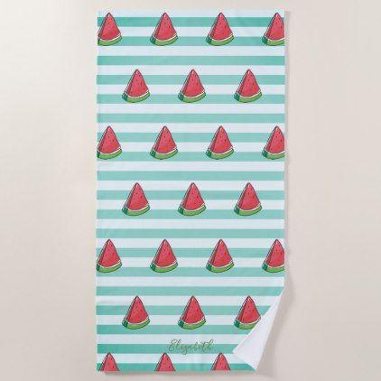Cute Girly Watermelon Stripes Personalized Beach Towel Zazzle
