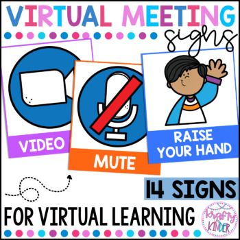 Virtual Meeting Signs For Zoom And Google Meet Virtual Learning Signs Online Music Lessons Online Classroom Teacher Signs