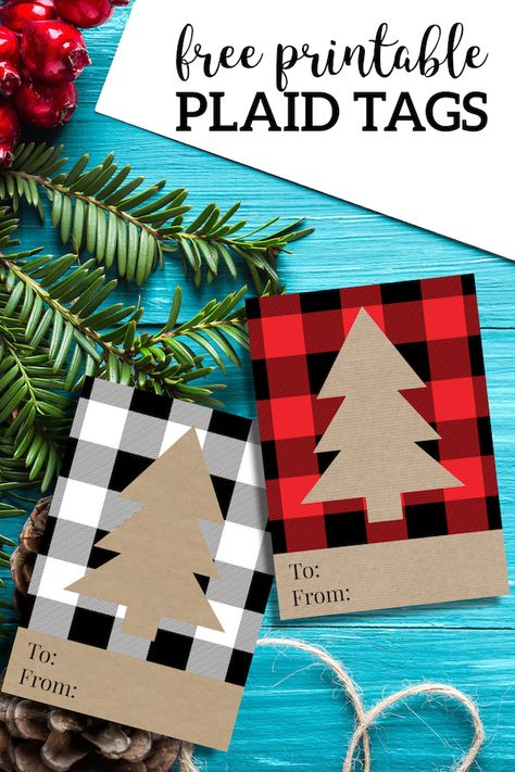 Rustic Plaid Christmas Tags Free Printable. Easy Christmas gift to from card for Christmas wrapping. Buffalo check tree pattern. #papertraildesign #cozyChristmas #Christmasplaid #plaid #gifttags #free