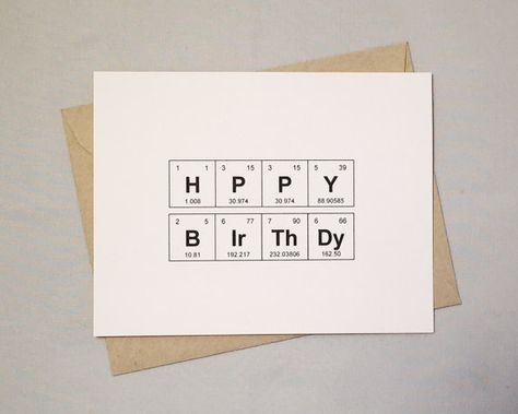 "Birthday Card Periodic Table of the Elements ""HPPY BIrThDy"" 100% recycled, eco friendly"