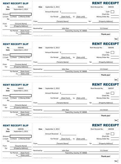 Basic Rent Receipt - Microsoft Word Template and PDF printout