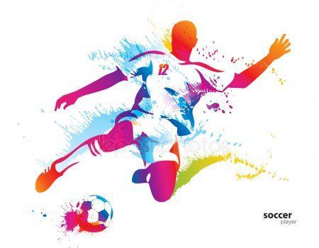 Jugador De Futbol Patea La Pelota El Colorido Vector Ilustracion W Fotbollsspelare Teckning Fotboll