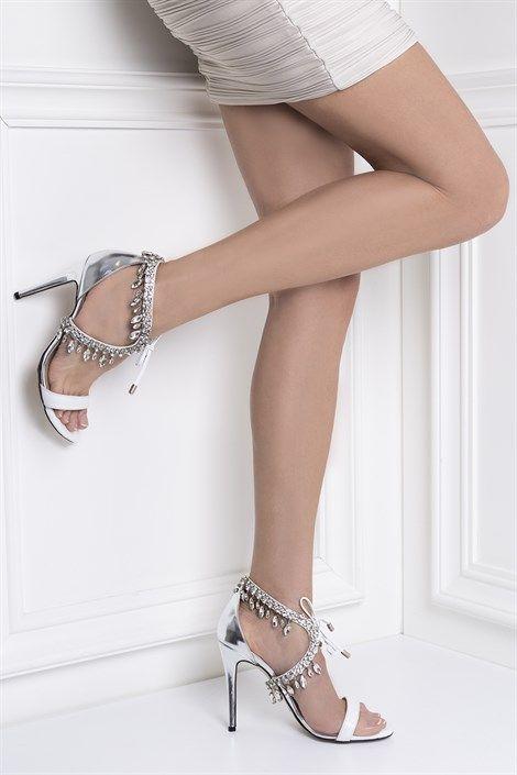 Kristalina Bayan Sandalet Lame Beyaz Ilvi Sandalet Bayan Ayakkabi Ayakkabilar