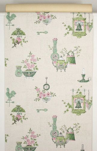 1950s Vintage Wallpaper Pink And Green Kitchen Vintage Wallpaper Green Kitchen Wallpaper Green Kitchen