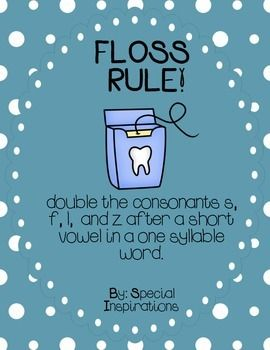 FLOSS Double Consonants (ZZ, SS, FF, LL) Rule Poster and Picture ...