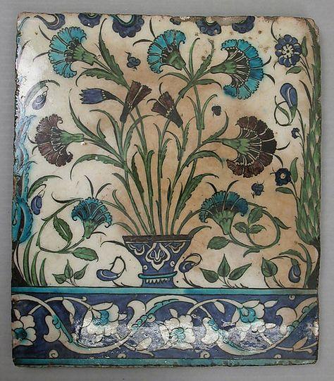Tile, stonepaste, painted and glazed. Syria, circa 16th century