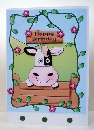 Curious Cow Decoupage Card Cow In A Floral Frame Printable Birthday Card Affiliate Link Birthday Card Printable Decoupage Cards