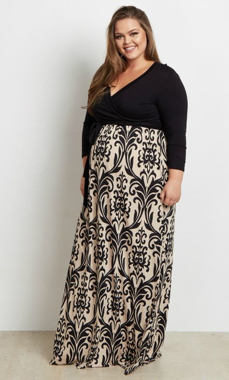 dd9aab4044b0d We think you can wear this pretty little number just about anywhere this  season. This maternity maxi dress features a beautiful damask pattern and  3/4 ...