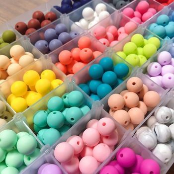 Silicone Baby Teether Chew Beads Mom DIY Necklace Letter Bracelet Beads 12mm