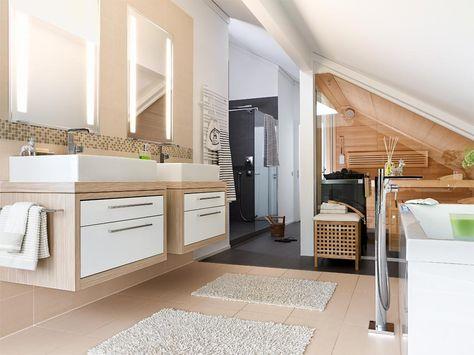 Dachschräge und Sauna Bad Pinterest Saunas, Dachs und - whirlpool im wohnzimmer