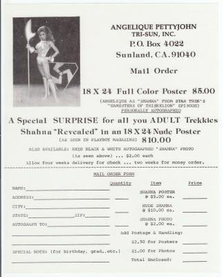 Angelique Pettyjohn Merchandise Order Form - Lot of 2, NM, circa - money order form