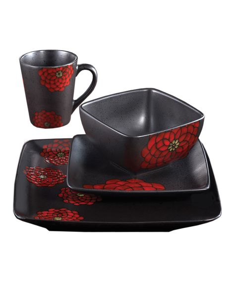 Jay Import Black Red Asiana Dinnerware 16 Piece Set Dinnerware