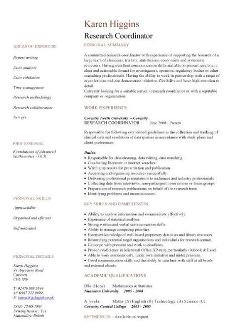 Sample Job Application Cover Letter -    wwwresumecareerinfo - research coordinator resume